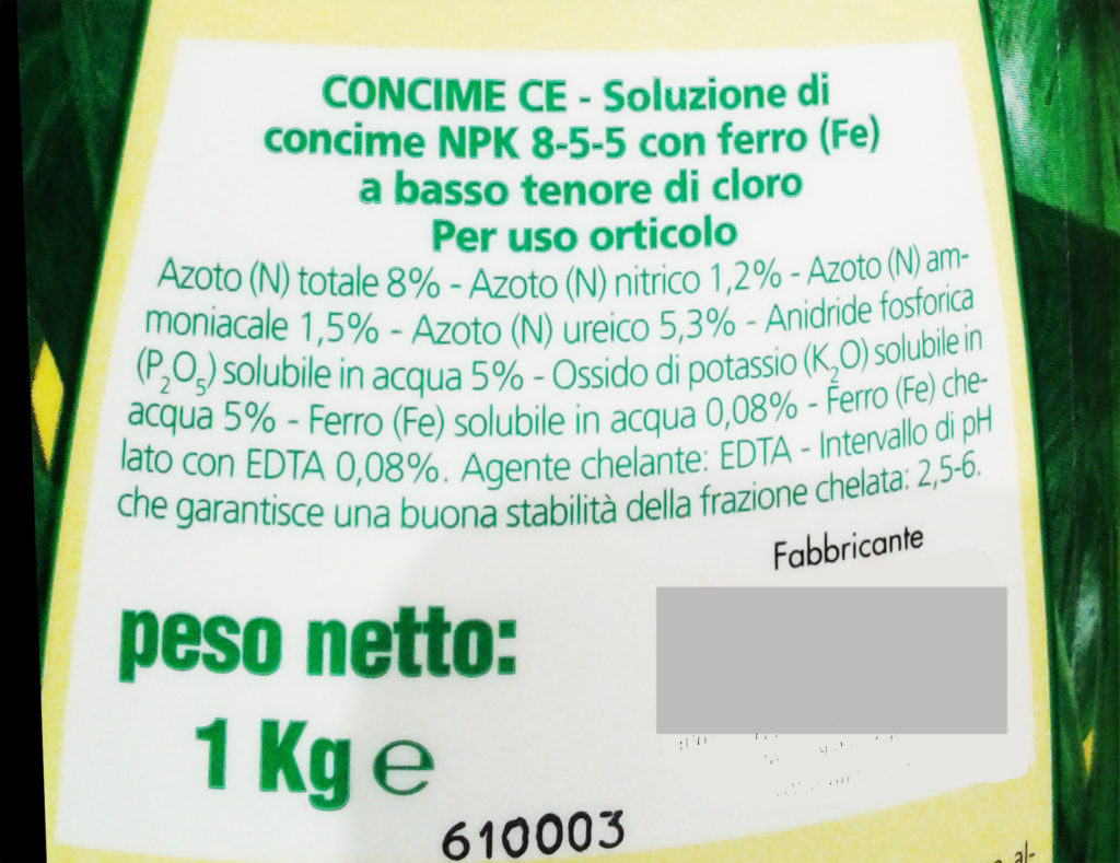 npk concime etichetta