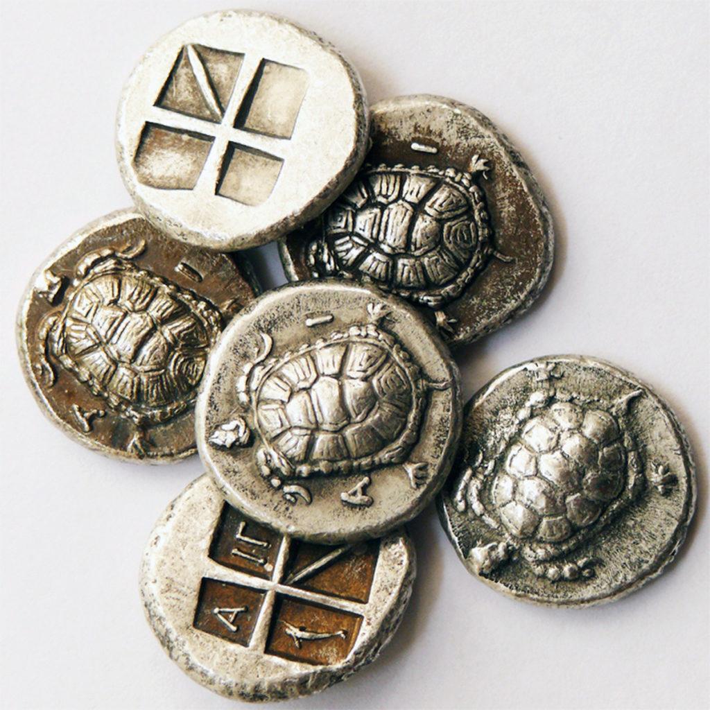 monete con tartarughe