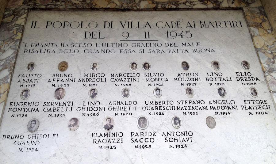 Lapide caduti della resistenza villa Cadè
